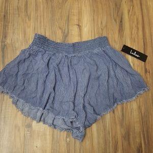 Lulus blue smocked waist short shorts